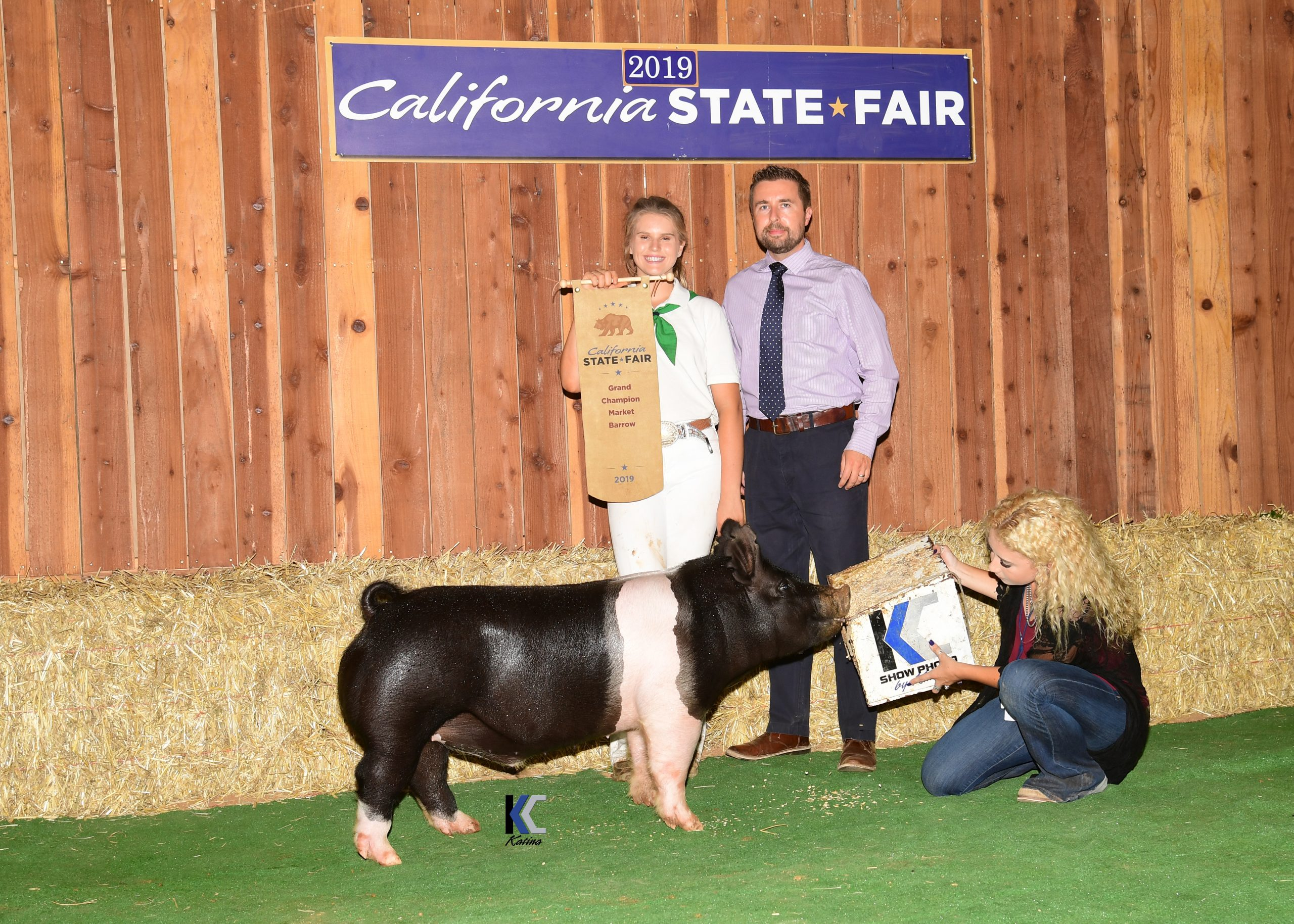 Grand Champion Market Barrow with Exhibitor and Judge