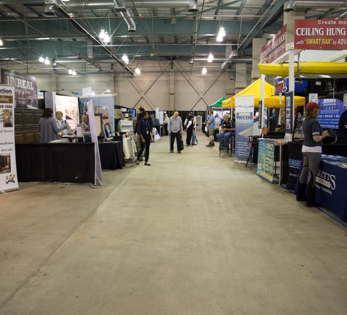 Rows of booths at the Home and Garden Show at Cal Expo