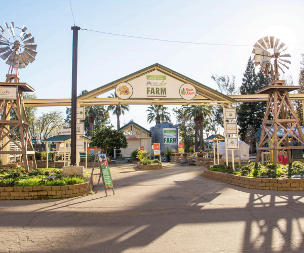 The entrance to the Farm at Cal Expo