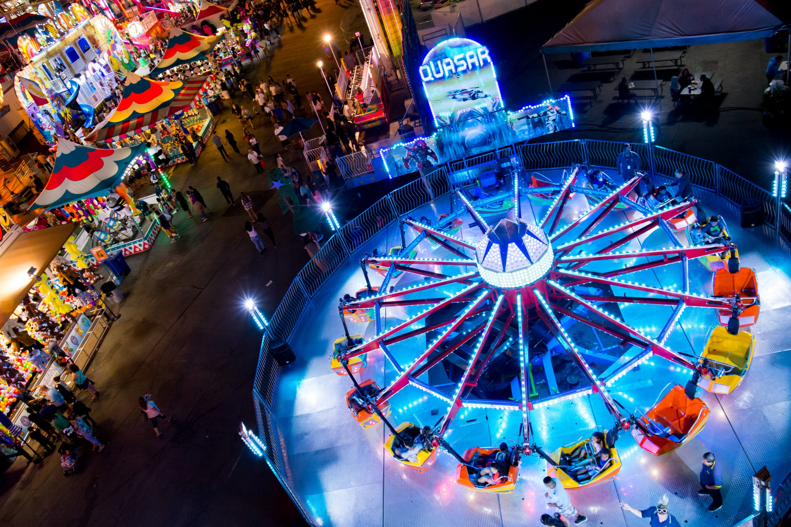 Rides at night at CA State Fair - approved for media use