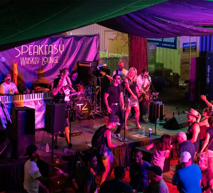 Band playing on the Speakeasy Whiskey Lounge stage with a crowd of dancing people