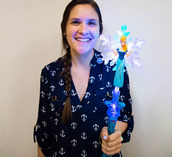 Girl Holding Blue Princess Wand