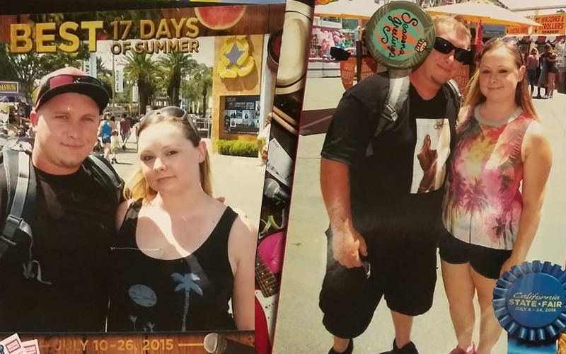 Two photos of two people at the fair