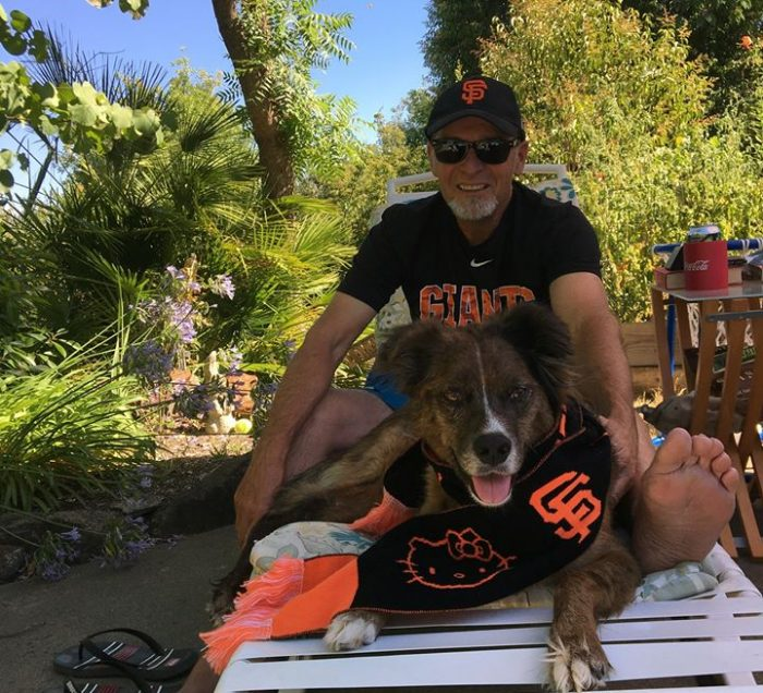 A man and dog sitting on a lawn chair wearing Giants clothing