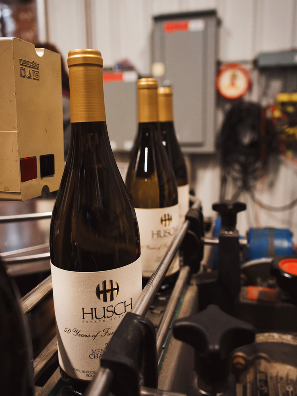 Husch Wine being bottled