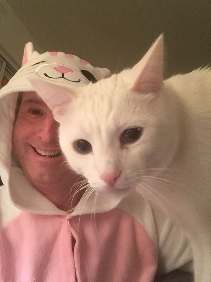 Person dressed up in a cat costume with their cat looking at the camera