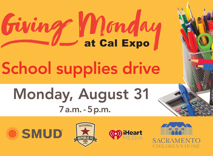 SMUD Giving Monday School Supplies Drive at Cal Expo Flyer