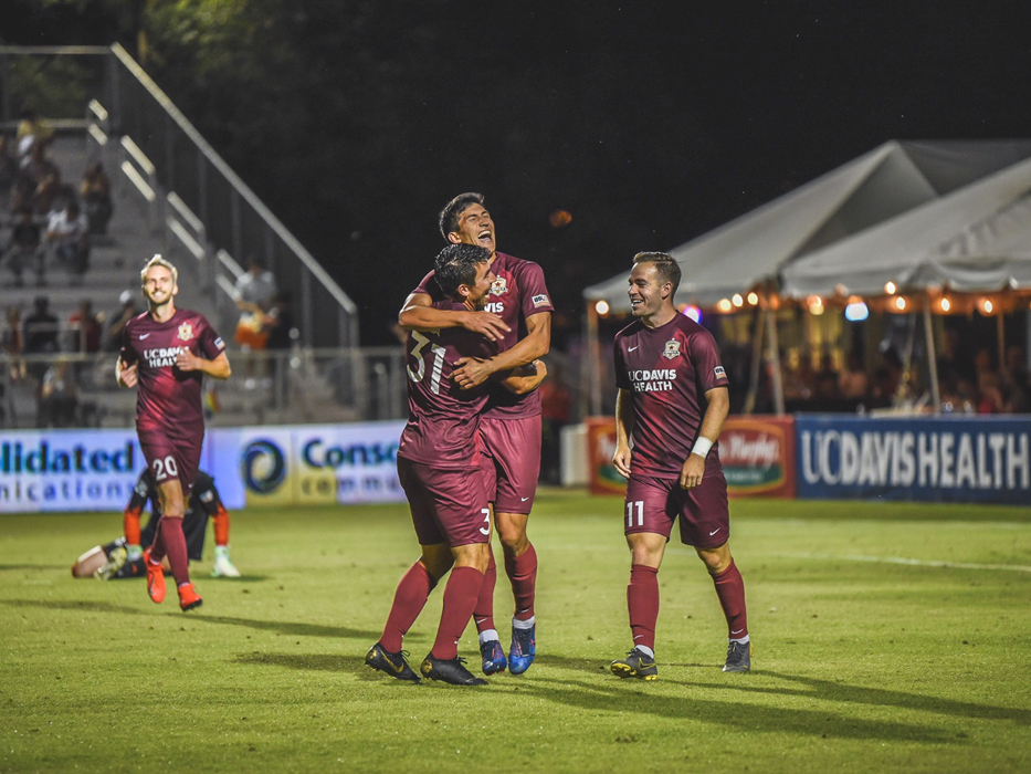 Sac Republic FC players on Field celebrating