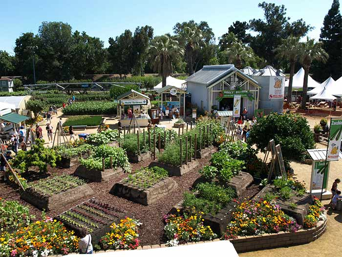 Photo of a farm with garden beds and green house