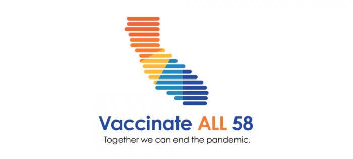 """Illustrated California state cutout with lines and color blocking on white background. Reads """"Vaccinate All 58"""" and """"together we can end the pandemic"""" below"""